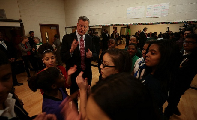 Mayor Bill de Blasio visited M.S. 331 in January to tout his plan to fund after-school programs for all middle school students.